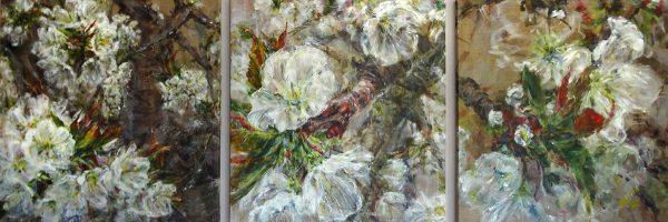 Doris-Ranftl-Kirschblütentriptichon-II